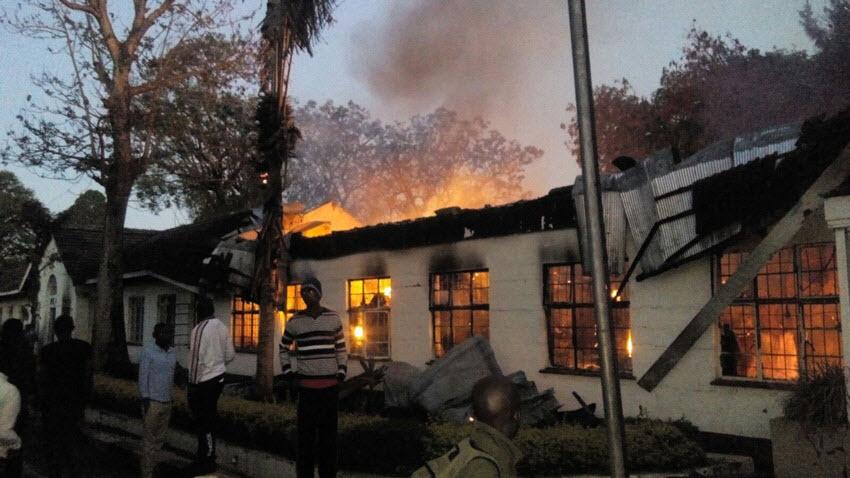 Arsonists Burnt Down Maseno University Administration & Finance Building